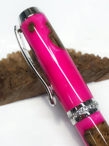 Venus Rollerball / Rhodium - Hybrid Maple Burl and Hot Pink