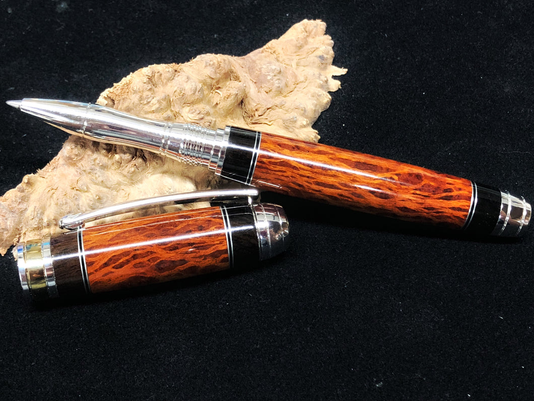 Mistral Rollerball / Rhodium and Titanim Gold - Segmented Lace Sheoak