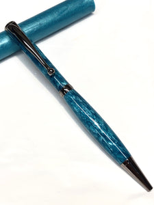Slim Ballpoint / Black Titanium - Ocean Blue Resin