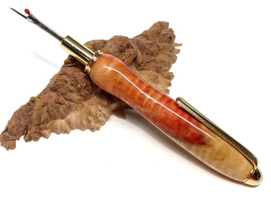 Seam Ripper / Single Blade - Wood / Flaming Box Elder
