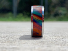 "Load image into Gallery viewer, Ring / 8mm 2 piece Stainless Steel - Resin / DiamondCast ""Oil Slick"" - Size 11"