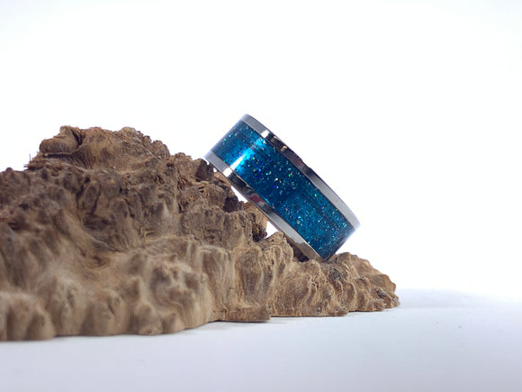 Ring / 8mm 2 piece Stainless Steel - Resin / DiamondCast