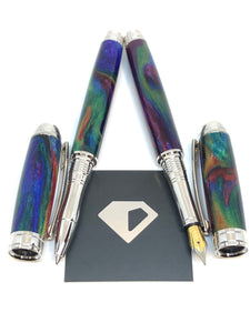 Mistral Rollerball / Rhodium - DiamondCast Oil Slick Resin
