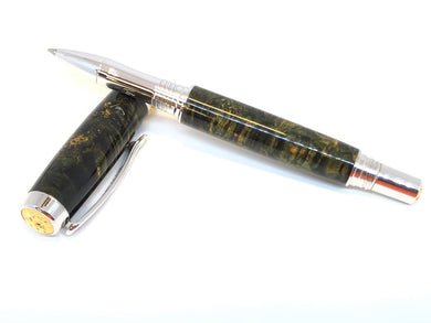 Aaron Rollerball / Rhodium and Gold - Wood / Dyed Black Ash Burl