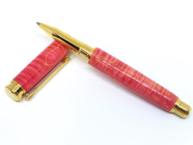 Leveche Rollerball / Gold - Wood / Pink Dyed Curly Maple