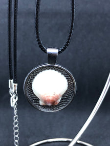 Seashell / Antique Silver Pendant - Black Cord Necklace
