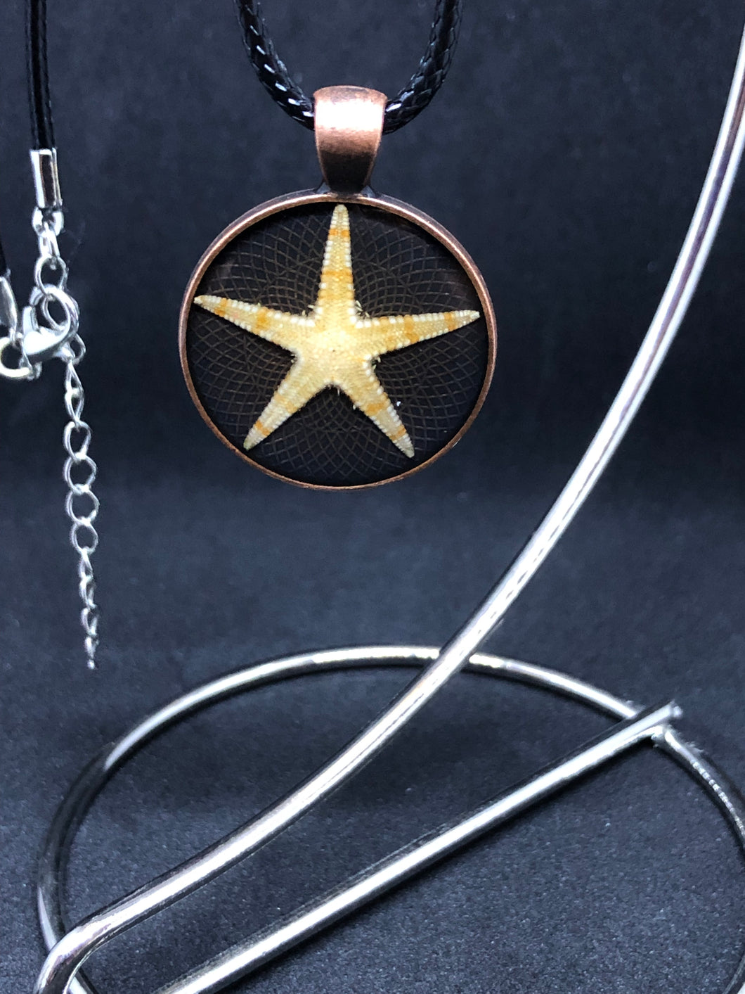 Starfish / Antique Bronze Pendant - Black Cord Necklace