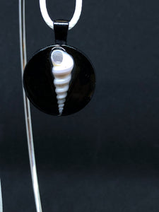 Seashell / Black Pendant - White Cord Necklace