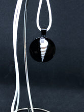 Load image into Gallery viewer, Seashell / Black Pendant - White Cord Necklace