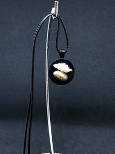 Seashell Duo / Black Pendant - Black Cord Necklace