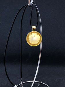 Sand Dollar / Gold Pendant - Black Cord Necklace