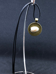 Seashell / Antique Gold Pendant - Black Cord Necklace