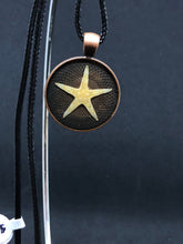 Load image into Gallery viewer, Starfish / Antique Bronze Pendant - Black Cord Necklace