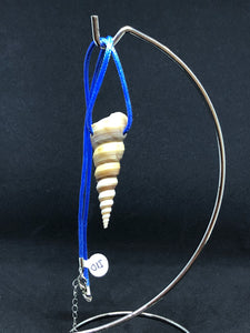 Medium Seashell - Blue Cord Necklace