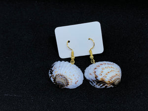 Seashell / Gold Wire Hook Earrings