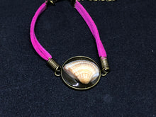 Load image into Gallery viewer, Seashell / Antique Bronze Pendant - Fuchsia Woven Leather Bracelet