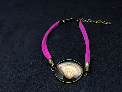 Seashell / Antique Bronze Pendant - Fuchsia Woven Leather Bracelet
