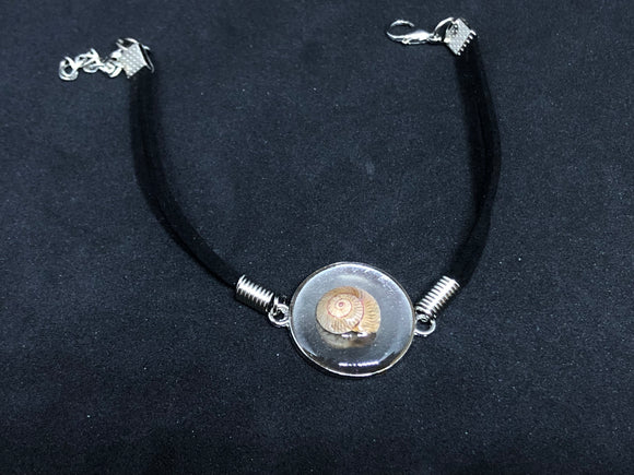 Seashell / Silver Pendant - Black Woven Leather Bracelet