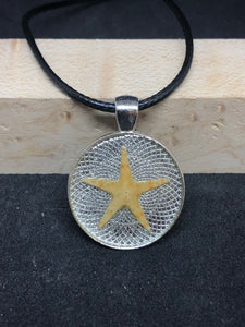 Starfish / Silver Pendant - Black Cord Necklace