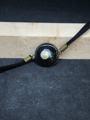 Seashell w/ Black Sand / Antique Bronze Pendant - Black Woven Leather Bracelet