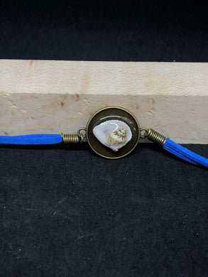 Seashell Duo / Antique Bronze Pendant - Blue Woven Leather Bracelet