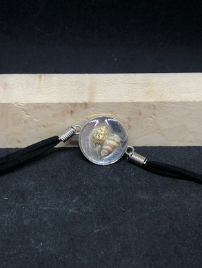Seashell Duo / Silver Pendant - Black Woven Leather Bracelet