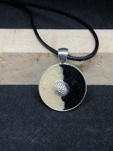 Seashell w/ Black and Pink Sand / Silver Pendant - Black Cord Necklace