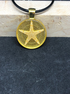 Starfish / Gold Pendant - Black Cord Necklace