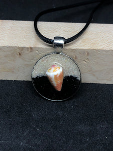 Seashell w/ Black and Pink Sand / Chrome Pendant - Black Cord Necklace