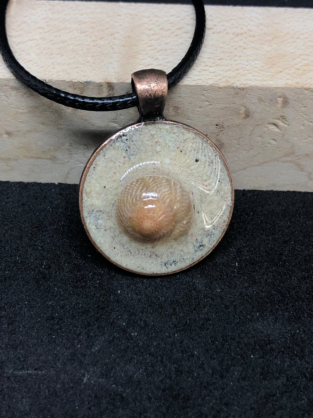 Seashell w/ Pink Sand / Antique Bronze Pendant - Black Cord Necklace