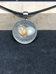 Seashell Duo / Chrome Pendant - Black Cord Necklace
