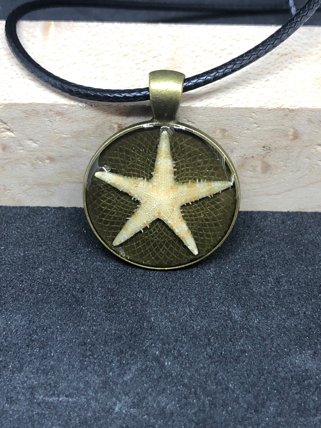 Starfish / Antique Gold Pendant - Black Cord Necklace
