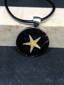 Starfish w/ Black Sand / Silver Pendant - Black Cord Necklace