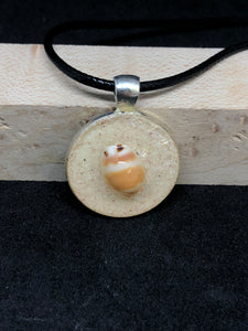 Seashell w/ Pink Sand / Silver Pendant - Black Cord Necklace