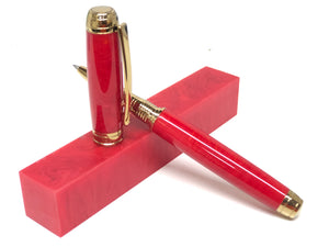 Mistral Rollerball / Titanium Gold - Custom Resin / Red Rain