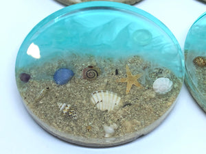 Small Round Beach Coasters with Sand and Shells