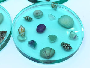 Small Round Coasters with Seashells