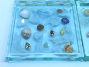 Large Square Coasters with Seashells