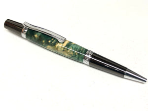 Elegant Beauty / Gunmetal and Chrome - Wood / Green Dyed Black Ash Burl