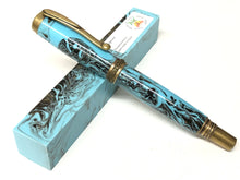 "Load image into Gallery viewer, Joshua Rollerball / Antique Brass - ""Turquoise"" Custom Resin"