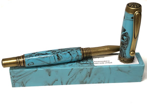 "Joshua Rollerball / Antique Brass - ""Turquoise"" Custom Resin"