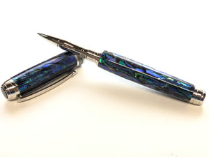 Mistral Rollerball / Rhodium and Black Titanium - Natural Paua Abalone