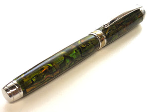 Mistral Rollerball / Rhodium and Gold - Green Gold Paua Abalone