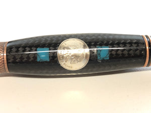 Monarch Grande / Gunmetal and Antique Copper - Carbon Fiber w/Turquoise and Silver Ingot