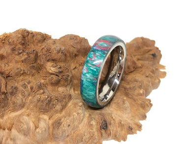 Ring / 5mm Stainless Steel - Resin / Teal Swirl - Size 6