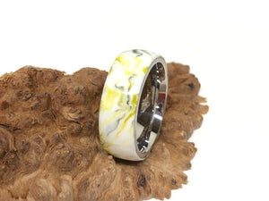 Ring / 8mm Stainless Steel - Resin / Steel City - Size 10