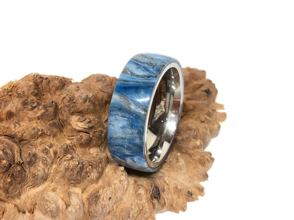 Ring / 8mm Stainless Steel - Resin / DiamondCast Blue, Silver and White - Size 10