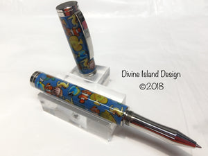 "Shakespeare Rollerball / Polished Stainless Steel - Poly Clay ""Seascape"""