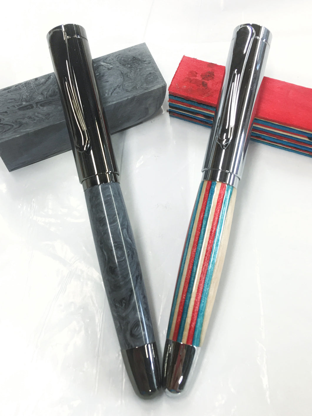 Dennis Rollerball / Chrome - Wood / Red,White and blue colored craft sticks