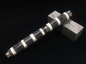 "Shakespeare Rollerball / Stainless Steel - Shark Vertebrae and ""Damascus Steel"" Resin"